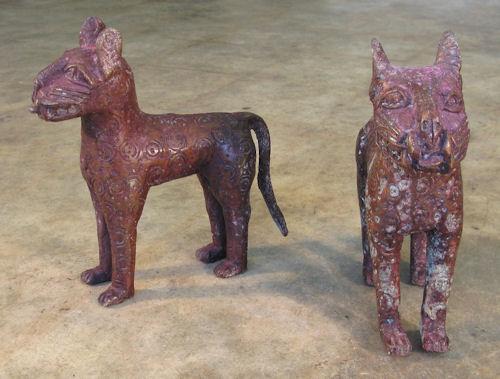 Benin Style Nigerian Brass Leopards 8133 By Cyberrug
